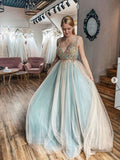 Beautiful Blue V Neck Tulle Lace Long Prom Dress Blue Lace Formal Dress