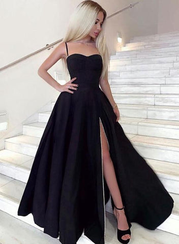 Simple Sweetheart Neck Black Satin Long Side Slit Prom Dress Graduation Dress