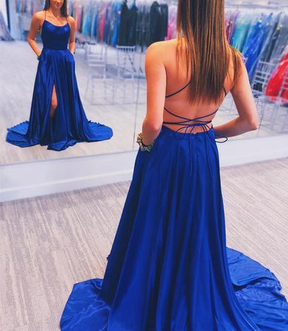 Simple Royal Blue Prom Dress with Cross Back Evening Dress Elastic Woven Stain Formal Gowns