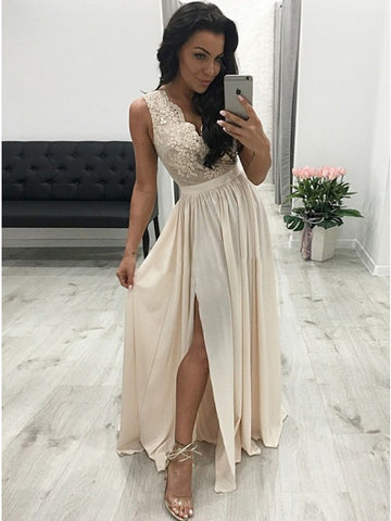 Beautiful A-Line V-Neck Pleated Beige Chiffon Prom Evening Dress with Split Appliques
