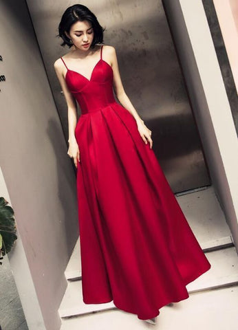 Simple Satin Prom Dresses Dark Red Straps Long Party Gowns Handmade Formal Gown 2020 Formal Dresses Prom Gowns