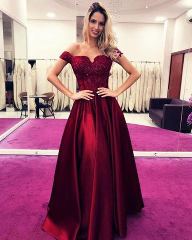 Burgundy Satin Off The Shoulder Long Senior Prom Dress With Lace Applique 2020 Evening Dress