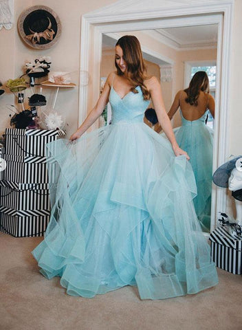 Cute Blue V Neck Tulle Long Prom Dress Hot Evening Dress