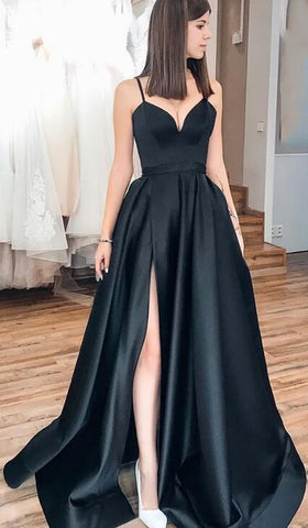Simple Prom Dress with Slit, Popular School Dance Dress , Long Wedding Party Dress