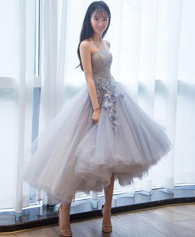 Cute Gray Tulle Lace Short Prom Dress For Teens, Homecoming Dress