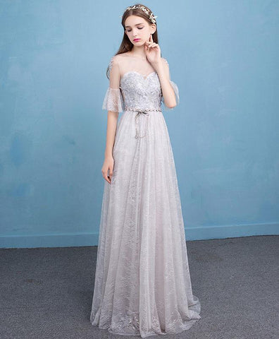 Cute gray tulle lace prom dress, long formal dress for prom 2018