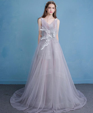 Unique style gray lace tulle prom dress, long evening dress for prom 2018