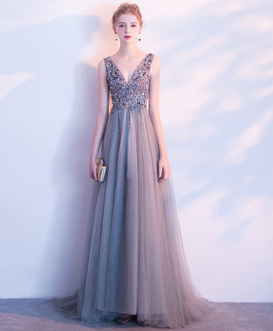 Gray tulle V neck beaded and sequins long halter evening dress