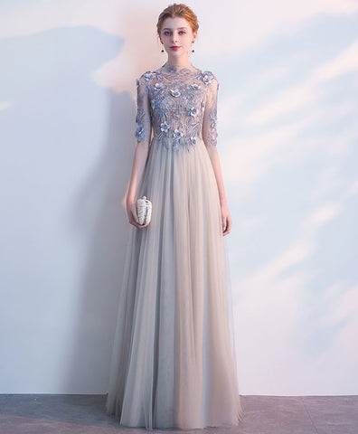 Gray tulle O neck long evening dress, long 3D lace appliques prom dress with sleeves