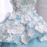 Ice blue organza scoop neck floor length couture prom dress, 3D lace ball gown