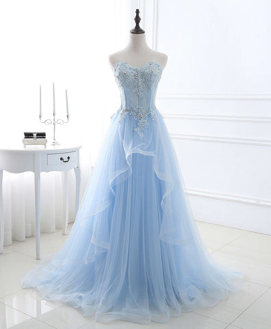 2018 spring ice blue tulle strapless long ruffles beaded prom dress