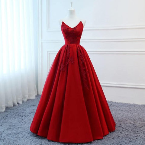 High Quality Silk Satin 2018 Modest Prom Dresses Long Red Wedding Evening Dress Floral Tulle Women Formal Party Gown Bride Gown Corset Back