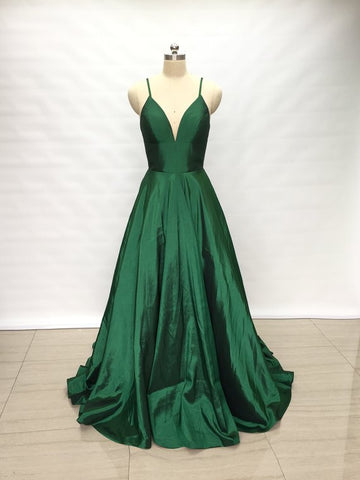 Simple Spaghetti Straps Emerald Green Taffeta Long Prom Dress 2019