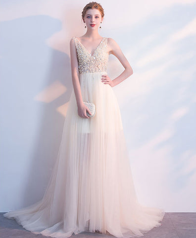 Unique creamy tulle V neck long evening dress, long beaded formal dress