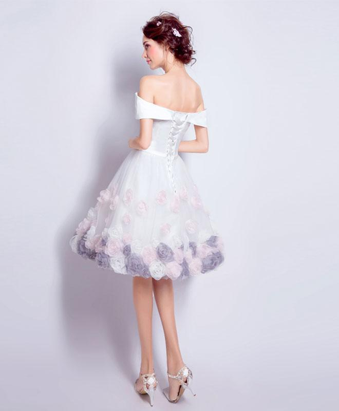 be10cabed70 ... 2018 cute white tulle off shoulder prom dress, short prom dress for  teens ...