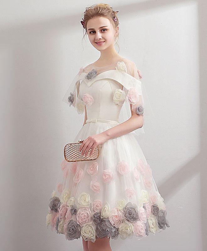 2018 cute white tulle off shoulder prom dress, short prom dress for ...