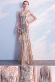 Light gold sequin V neck long mermaid hatler evening dress