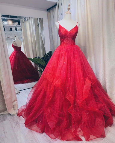2020 Spaghetti Straps Ball Gown Prom Dresses, Long Prom Dress, Prom dress