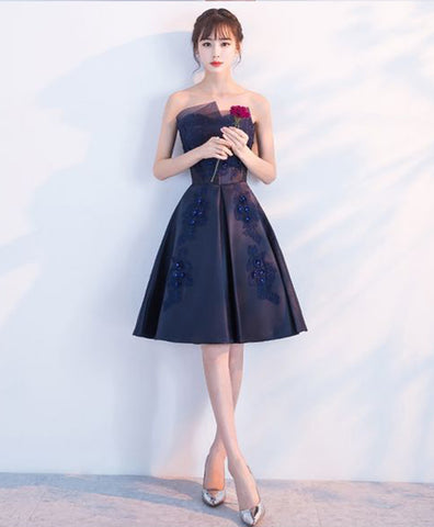 Simple navy blue satin strapless short bridesmaid dress, short beaded party dress