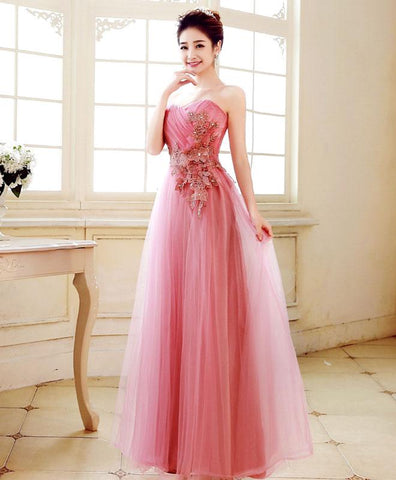 2018 new coming pink tulle prom dress, floor length evening gown