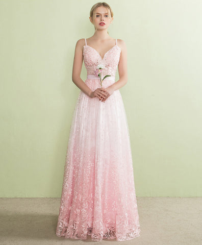 Sweetheart pink lace spaghetti straps long A-line prom dress, pink lace party dress
