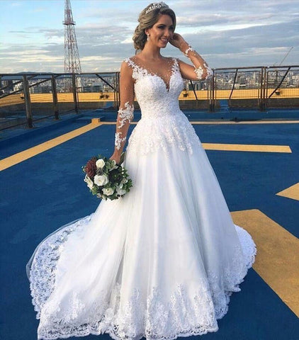 White Wedding Dress,2020 Luxury Bead Appliques Wedding Dress,Full Sleeves Wedding Dress for Women