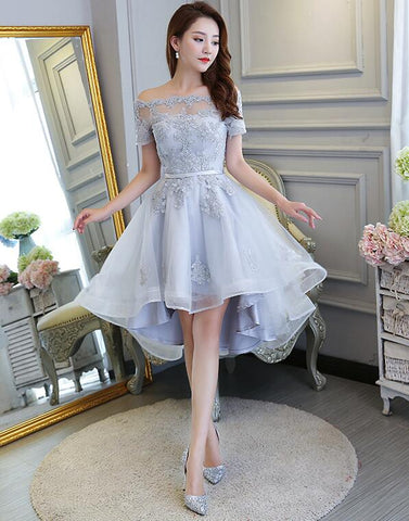 Grey High Low Lace Detail Off Shoulder Homecoming Dresses 2019, Beautiful Party Dresses