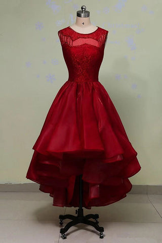 Wine Red Organza Lace and Beaded High Low Evening Gowns, Beautiful Party Dresses 2019