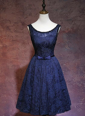 Navy Blue Lace Knee Length Bridesmaid Dress, Blue Formal Dresses 2019