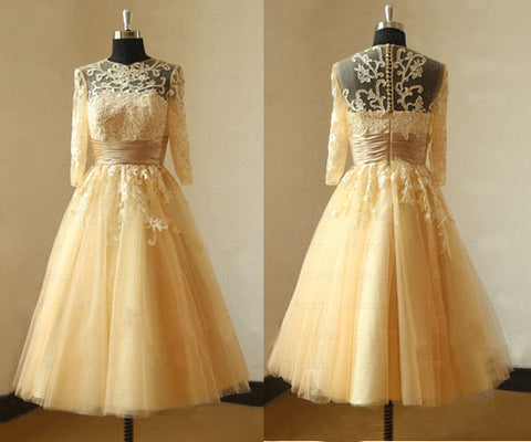 Beautiful Lace Prom Dress, Long Sleeve Prom Dress For Teens