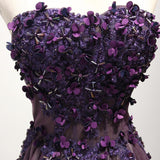 Purple strapless long 3D appliques formal prom dress