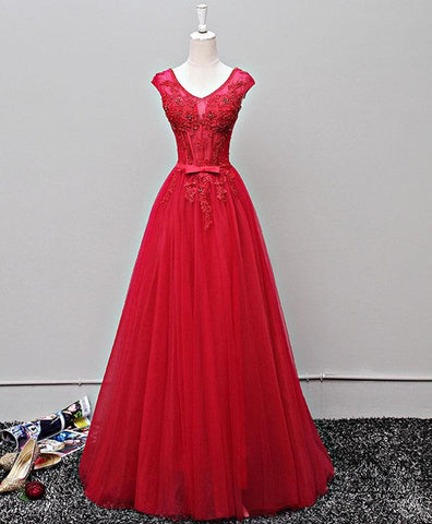 Red tulle long lace cap sleeves senior prom dress with bowknot