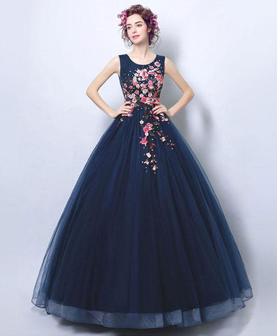 2018 new blue round neck lace long prom gown, formal dress
