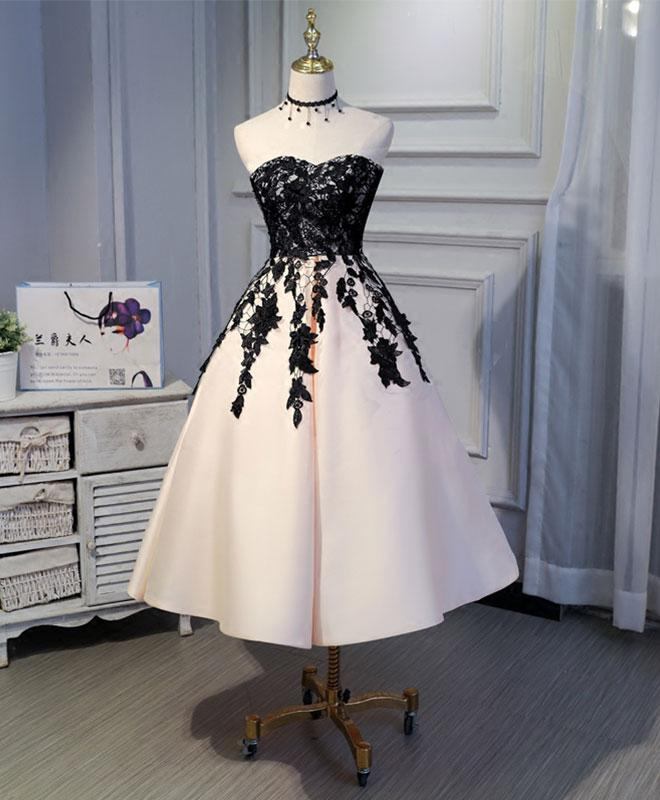 c659b79c18f Cute champagne satin prom dress with lace appliques