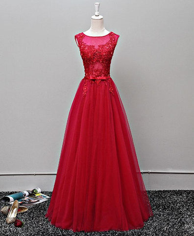 Red tulle scoop neck open back long spring prom dress