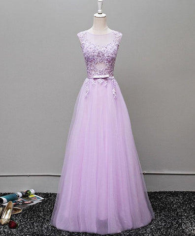 Lavender tulle scoop neck see through long sweet 16 prom dress