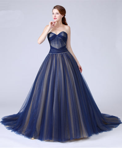 Sweetheart navy blue tulle long train A-line eveining dress, long tulle prom dress