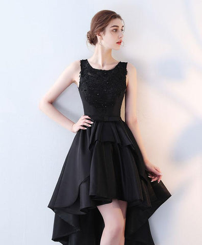 Cute black lace prom dress, high low prom dress, short evening gown
