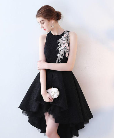 Cute black lace prom dress, high low prom dress