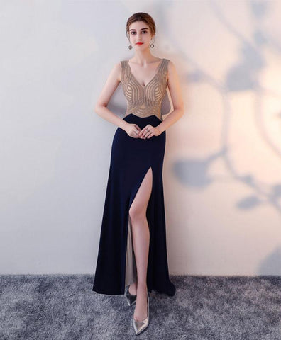 2018 new sequins top dark blue chiffon prom dress, long evening gown