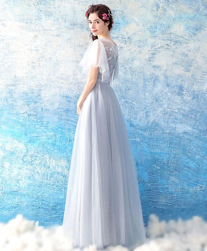 2018 cute gray tulle long evening gown, half sleeve prom dress ...
