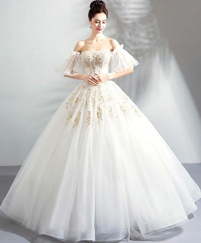 White tulle lace long evening gown wedding dress, off shoulder prom dress