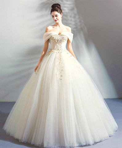 White tulle long evening gown, off shoulder wedding dress