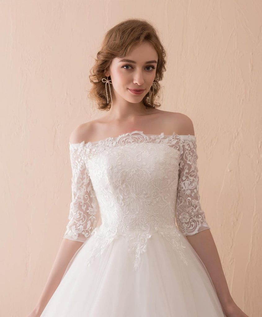 White lace off shoulder long formal wedding dress with mid sleeves white lace off shoulder long formal wedding dress with mid sleeves junglespirit Image collections