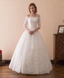 White lace off shoulder long formal wedding dress with mid sleeves
