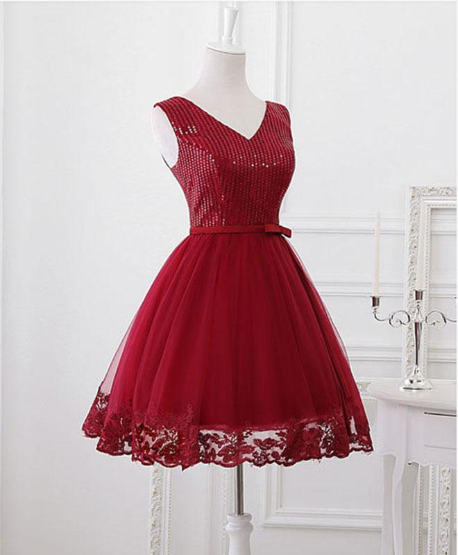 order online low priced temperament shoes Cute burgundy prom dress, homecoming dress, V neck prom dress