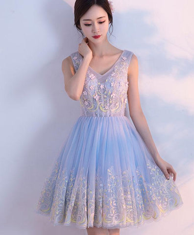 Cute light blue tulle prom dress, v neck homecoming dress, short prom dress for teens