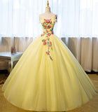 Yellow tulle off shoulder A-line floor length evening dress with flower appliques