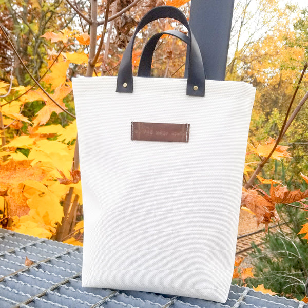 White Mesh and Leather Tote