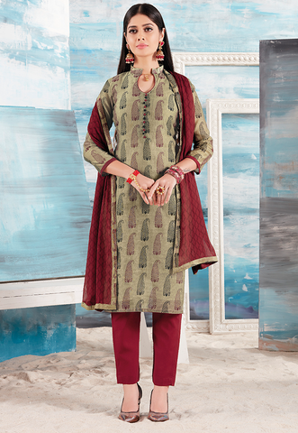 Maroon and Chikoo Printed Suit Set